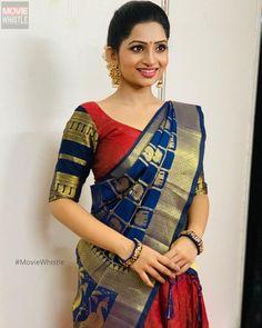 Nakshathra Nagesh in a pattu saree / kanchipuram saree Saree Gown, Lehnga Dress, Lehenga, Saree Draping Styles, Saree Styles, Saree Blouse Patterns, Saree Blouse Designs, Beautiful Saree, Beautiful Indian Actress