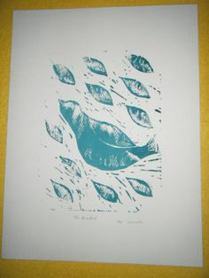 The Blue Bird - Lino Print by MaddymooDesign for $15.00