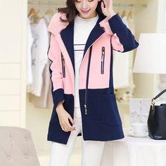 Fashion Contrast Color Slim Fit Hooded Woolen Coat