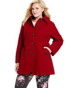 printed wool-blend coat in black / red designed by steilmann to