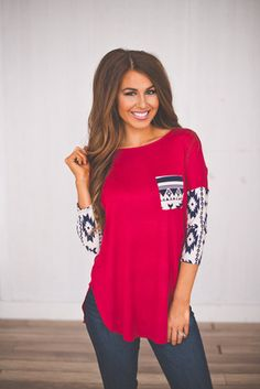 Tribal Sleeve Tunic- Red from Dottie Couture Boutique