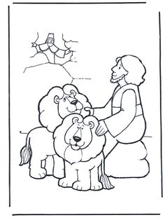 Daniel and the Lions Den Coloring sheet