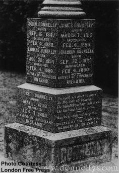 [image] The Original Donnelly Tombstone -- Courtesy of The London Free Press