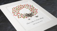 Christmas wreath thumb print guest book from Appleberry Press, Stationery worth the paper it's printed on Unique Wedding Invitations, Wedding Stationery, Wedding 2017, Our Wedding, Wedding Ideas, Christmas Wreaths, Christmas Cards, Thumb Prints, Wedding Guest Book