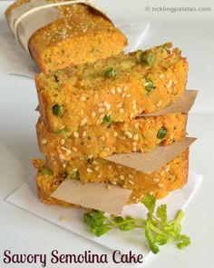 "Easy savory cake adapted from Anjum Anand's ""Indian Food Made Easy"" Veg Recipes, Indian Food Recipes, Cake Recipes, Vegetarian Recipes, Cooking Recipes, Recipies, Gujarati Recipes, Unique Recipes, Yummy Recipes"