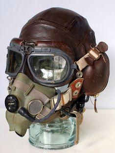 pilot helmet and goggles