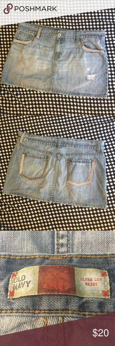 Old Navy mini skirt Ultra low rise distressed mini skirt. All measurements are approx. Old Navy Skirts Mini