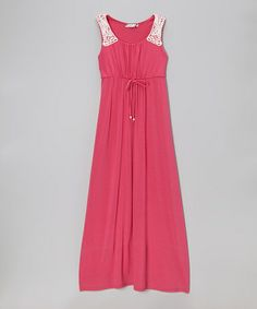 This Fuchsia & White Crocheted Trim Maxi Dress by Speechless is perfect! #zulilyfinds