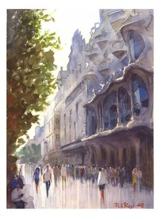 Casa Battlo - Gaudi - Barcelona - Watercolour painting - #pleinairwatercolour
