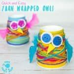 PAPER CUP YARN WRAPPED OWL CRAFT - Want an easy preschool owl craft? These Paper Cup Owls are a hoot! Cute, colourful, fun and great for fine motor skills. Owl crafts are such a fun fall craft idea for kids. Paper Cup Crafts, Owl Crafts, Yarn Crafts, Preschool Crafts, Crafts For Kids, Craft Kids, Autumn Crafts, Christmas Crafts, Hedgehog Craft