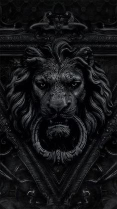black lion door knocker / color inspiration / black and white / monochromatic / texture / pattern / nature / art / Lion Door Knocker, Door Knockers, Door Knobs, Door Handles, Lion Noir, Sculptures, Lion Sculpture, Roman Sculpture, Black Lion