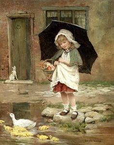 View April showers by George Hillyard Swinstead on artnet. Browse upcoming and past auction lots by George Hillyard Swinstead. Painting For Kids, Art For Kids, Art Children, Painting Art, Pinturas Disney, Photo D Art, Cross Stitch Supplies, Fantasy Paintings, Victorian Art