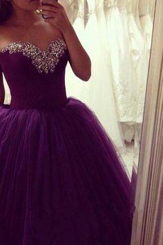 Purple Princess Prom Dress Long Puffy Rhinestones Beaded Sweetheart Neckline vestido de festa longo CS261