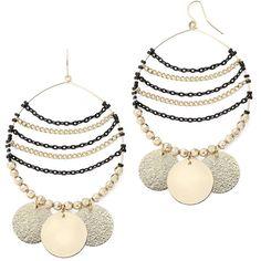 Bold Elements™ Disc Hoop Earrings ($13) ❤ liked on Polyvore featuring jewelry, earrings, gold tone jewelry, hoop earrings, black jewelry, disc jewelry and long earrings