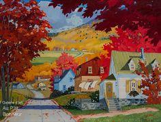 Louise Martineau Autumn Painting, Autumn Art, Canadian Painters, Illustration Art, Illustrations, House Landscape, Colorful Paintings, Learn To Paint, Cute Art