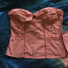 Selling this Red and White Zigzag Bustier Top on Poshmark! My username is: clekanides. #shopmycloset #poshmark #fashion #shopping #style #forsale #Hot Topic #Tops