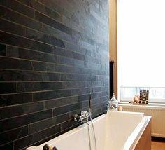 Black Slate Strip Bath Wall Cladding i Bathroom Tiles Images, Slate Bathroom, Grey Bathrooms, Bathroom Wall, Bathroom Ideas, Slate Shower, Grey Slate Tile, Slate Wall Tiles, Slate Flooring