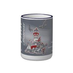 """Kaffeebecher/Mug """"Sea Breeze"""" Var02, maritimes Motiv. Farben wählbar, Text kann geändert/hinzugefügt werden. Grafik und Entwurf bei ArianneGrafX©2011"""