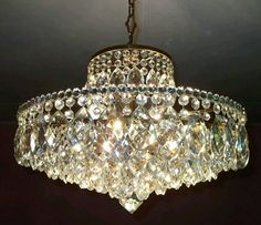 Large Art Deco Antique Style Ceiling Light Vintage French Brass  Art Nouveau Crystal Bridal Chandelier