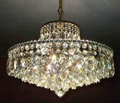 Large Art Deco Antique Style Ceiling Light Vintage French Brass Art Nouveau Crystal Bridal Chandelier