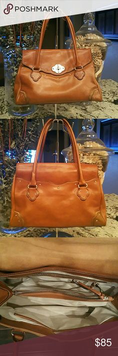 """Michael Kors Leather Handbag Leather and Suede Material, Back exterior pocket, 4 internal compartments, key fob, 2 inside side pockets,  14""""  x 3 1/2"""""""" x 9"""". Good Condition, Reduced to sell, slight ware in front clasp. Michael Kors Bags Shoulder Bags"""