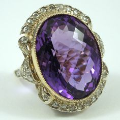 Vintage 22.52 Carat Checkerboard Cut Amethyst with Rose Cut Diamond Accents set in a Victorian 18K Yellow Gold & Sterling Silver Cocktail Ring. - $2,700