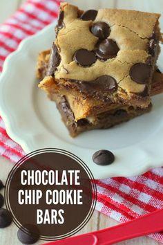 Chocolate Chip Cookie Bars (aka Pan Chewies) - our family's go-to Sunday Night Dessert! #cookiebars
