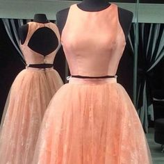 Chic Peach Two Piece Prom Dress - Crew Neck Open Back Floor Length with Lace,214