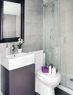 Awesome Interior Design Of A Small 40 Square Meter Apartment With White Purple Bathroom Wall Mirror Wash Basin Storage