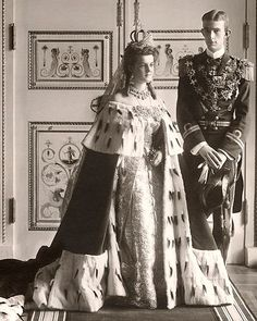 Prince Wilhelm of Sweden and his Romanov bride, Grand Duchess Maria Pavlovna of Russia, in her fabulous wedding attire, 1908.