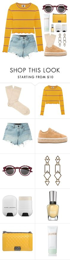 """""""July 3, 2017"""" by madelynn-gv ❤ liked on Polyvore featuring Falke, Topshop Unique, Alexander Wang, rag & bone, Mykita, Marc Jacobs, Chanel and La Mer"""