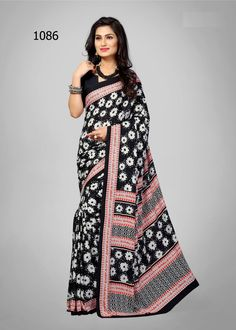 Admirable Black and White Printed Saree. Make a grand statement with this Saree. This saree will keep you comfortable all day long. This saree is quite comfortable to wear and easy to drape as well. This saree comes with matching unstitch Blouse. #saree, #casualsaree, #printedsaree, #wholesalesuppliers http://www.addsharesale.com/