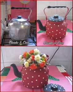 Meu mundo decorado: personalizar Tin Can Crafts, Diy And Crafts, Teapot Crafts, Decoupage Furniture, Milk Cans, Recycled Crafts, Bottle Crafts, Diy Gifts, Tea Pots