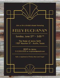 Digital File --- Art Deco Wedding Shower Invite --- Art Deco Fans