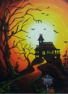 Haunted Hill - this has really good detail for a one-night painting class; from Merlot2Masterpiece