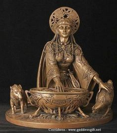 Cerridwen - Goddess of transformation, death, magic, regeneration, the Welsh Goddess of the Sacred Cauldron of inspiration, a powerful symbol of transforming magic for it is said to contain all of the knowledge of the world.