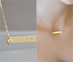 14k Gold Bar Necklace, Personalized bar, Bar Monogram, Gold Necklace, Name Necklace, Heart Necklace, Family Necklace