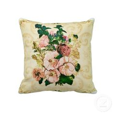 Beautiful Victorian Vintage Hollyhocks Pillow. #vintage #cushions #pillows #floral