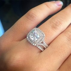 Unique double halo engagement #ring. http://jangmijewelry.com/