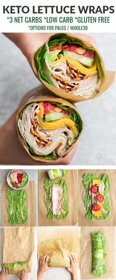 These Low Carb Wraps Are Great For Lunch And So Easy To Make! Learn how to make low carb wraps using lettuce instead of bread for the perfect healthy keto sandwich. These lettuce sandwich wraps are ea Low Carb Wraps, Lunch Recipes, Diet Recipes, Recipes Dinner, Healthy Sandwich Recipes, Chicken Wrap Recipes, Lettuce Wrap Recipes, Sandwich Ingredients, Keto Chicken