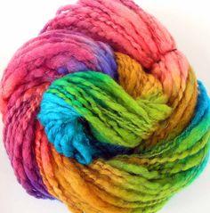 Handspun and Hand Dyed BFL Wool Alpaca Bulky Yarn 3 Skeins 265 yds - Spring Rainbows. $79.00, via Etsy.