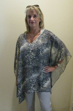 """$39.99 """"Doheny"""" Style Kimono Top with V-Neck and Straight Sides and Hem by """"Faye Maxwell - California"""".  www.fayemaxwellcalifornia.com"""