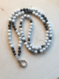 Excited to share the latest addition to my shop: Black, White, Gray and Silver Beaded Lanyard / Vintage / Badge Holder / ID Holder / Teacher Id Holder, Badge Holders, Lanyard Designs, Black And White Marble, Beaded Lanyards, Thing 1, Etsy Vintage, Vintage Inspired, Teacher