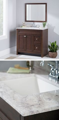 """We are really happy with this vanity and top. The vanity is real wood, and nicely put together. The back is particle board so that you can easily modify for plumbing connections. The top is my favorite part. It's beautiful. Very clean and modern with the squared off sink."" --Home Depot customer Melissa"
