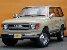 ランクル80丸目換装 ベージュ テレビドラマにTV出演♪ ランクル60の様な旧車の香り漂う丸目2灯ヘッドライトに換装されたランクル80。ホイールはflexdreamオリジナルメッキキャップ付きホイール(クローム) Toyota Landruiser80 FZJ80G