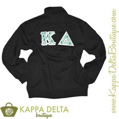 Just in time for all of the cold weather!! Kappa Delta sewn on letter charcoal quarter zip! These letters have the cutest arrow style emerald green and white patterned letters!!