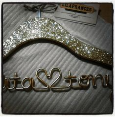 Gatsby Themed Sparkle Wedding Hanger Personalized by lilafrances