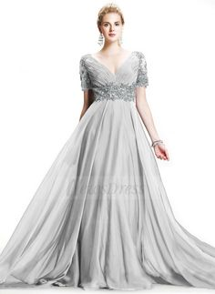 A-Line/Princess V-neck Sweep Train Chiffon Mother of the Bride Dress With Ruffle Beading Appliques Lace (0085095818) - Vbridal