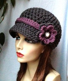 Charcoal Gray Teens Womens Hat, Newsboy, Purple, Pearl Button, Flower, Ribbon, Jewelry, Wedding, Birthday Gifts, Handmade, JE270ANRFB2
