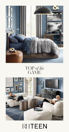 Design his field of dreams with timeless furnishings and decor, classic patterns and sports-themed wall art. Shop this style at RH TEEN. Boys Bedroom Decor, Home Bedroom, Living Room Decor, Bedroom Ideas, Boys Bedroom Furniture, Teen Boy Rooms, Teen Girl Bedrooms, Teen Boy Bedding, Teen Bedroom